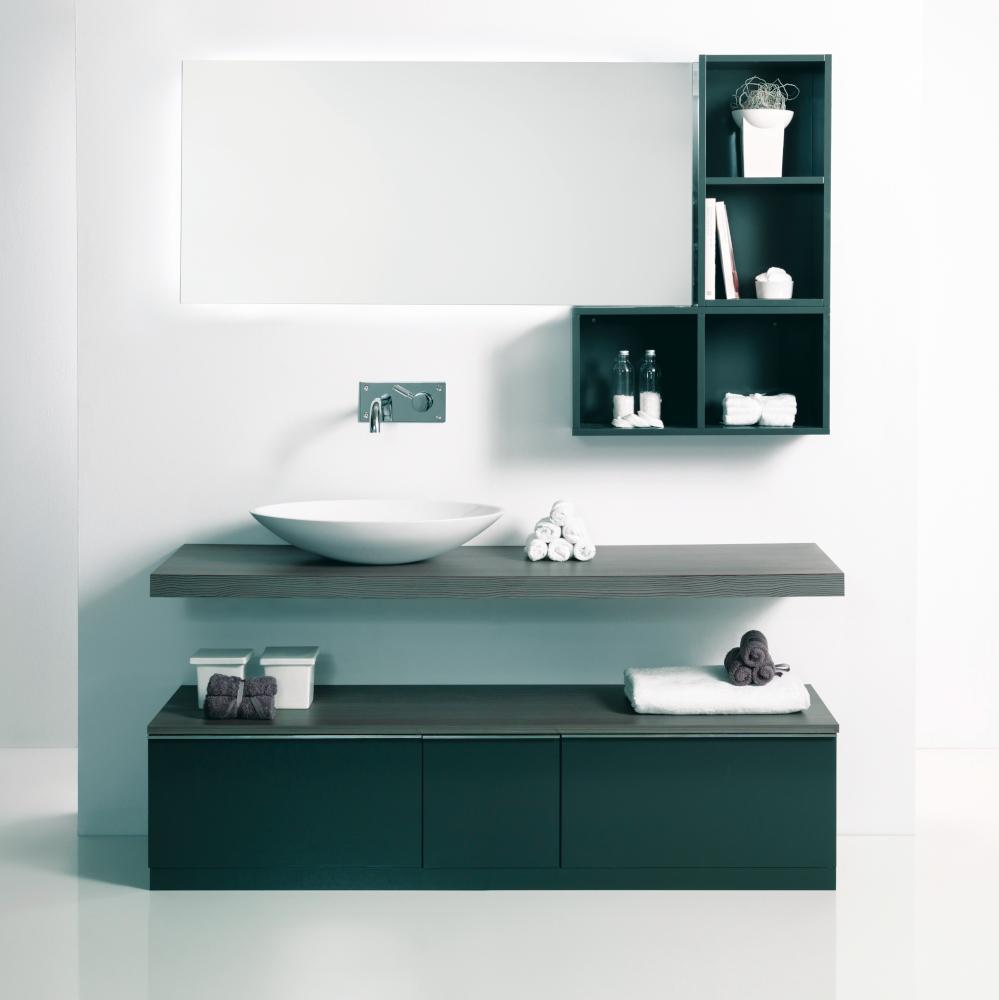 perfect amazing amazing elegant bao con mdulos abiertos abrazando el espejo y debajo un lavabo sobre encimera de madera with mueble bao con lavabo sobre - Encimeras Bao
